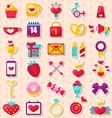 Set of Modern Flat Design Icons for Valentines Day vector image
