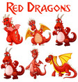 set of red dragon character vector image vector image