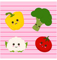 set with cute vegetables and lines vector image vector image