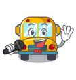 singing school bus mascot cartoon vector image