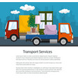 small truck and lorry with furniture brochure vector image vector image