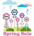 sping sale flower meadow with rainy clouds vector image vector image