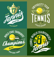 tennis ball and trophy or cup rack and court vector image vector image