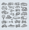 Transportation icons sketch vector image