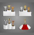 trophies on pedestals realistic design set vector image vector image