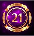 twenty one years anniversary celebration with vector image