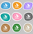 Windsurfing symbols Multicolored paper stickers vector image vector image