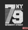 workout street t-shirt textured stamp vector image vector image
