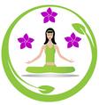 Yoga meditation girl logo vector image vector image