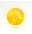 golden one dollar coin vector image