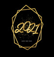 2021 realistic golden metallic inscription on a vector image vector image