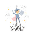 a knight character and hand lettering text vector image