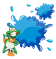 A smiling frog and an empty blue template vector image vector image