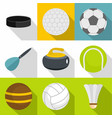 active games icons set flat style vector image vector image
