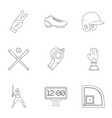 baseball goods icons set outline style vector image vector image