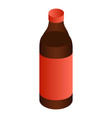 black beer bottle icon isometric style vector image vector image