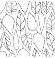 black colorless leaves doodle seamless pattern vector image
