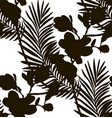 black shape seamless pattern with drawn flowers vector image