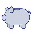 blue silhouette of moneybox in shape of pig vector image vector image