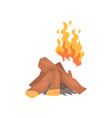 bonfire campfire logs burning cartoon vector image vector image
