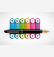 business infographics template ink pen with six vector image vector image