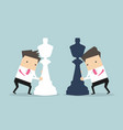 businessmen moving chess pieces on chess board vector image