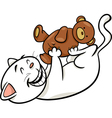 cat with teddy cartoon vector image vector image