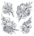 collection four floral compositions vector image vector image