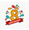 colorful happy birthday number 8 flat line design vector image vector image