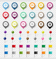 colorful location pin set isolated transparent vector image vector image