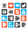 Connection communication and mobile phone icons vector image