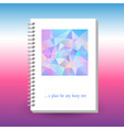 cover of diary or notebook with ring spiral binder vector image