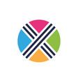cross x logo circle logo template letter x vector image