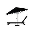 deckchair with umbrella in black vector image