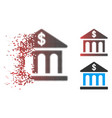 destructed pixelated halftone bank building icon vector image vector image