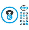 Euro Champion Medal Flat Icon with Bonus vector image