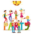flat girls and boys at friends party vector image vector image