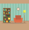 flat of cozy reading room vector image vector image