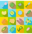 Germ and pathogen icons set flat style vector image vector image