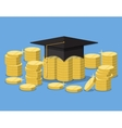 Graduation hat on stack of golden coins vector image vector image