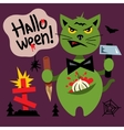 Halloween Cat in the Cemetery Cartoon vector image