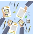 Hands of business people busy devices and papers vector image