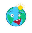 happy cheeky world globe isolated emoticon vector image vector image