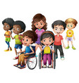 happy children standing and on wheelchairs vector image vector image