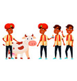 indian boy set diwali holy cow for vector image