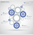 info graphic with blue gray flat gear wheels vector image