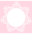 lace round frame on pink background vector image vector image