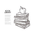 library background hand drawing retro books and vector image