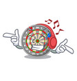 listening music dartcoard isolated with in the vector image vector image