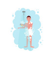 man taking a shower in a cloud blue steam vector image